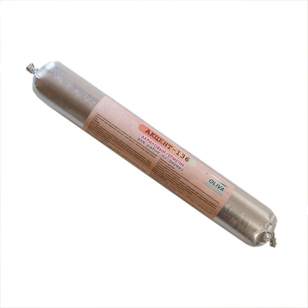 Герметик Oliva Акцент-136 по дереву акриловый для герметизации швов и трещин 600 мл