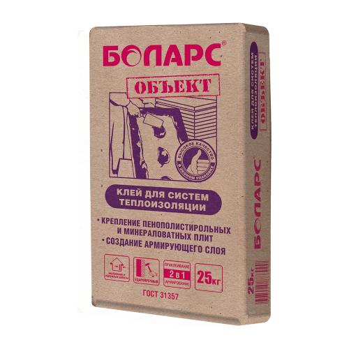 Клей Боларс ОБЪЕКТ для крепления пенополистирольных и минераловатных плит, 25 кг