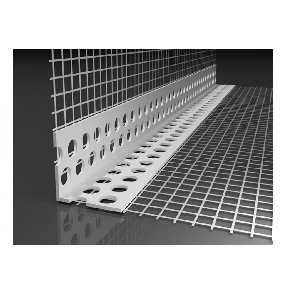 Угловой профиль ПВХ с армирующей сеткой 10Х15 2,5 м