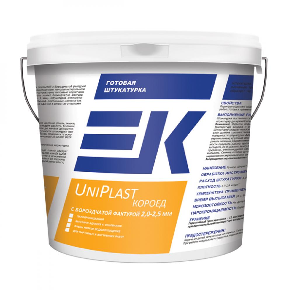Готовая штукатурка ЕК UniPlast короед с бороздчатой фактурой 2,0-2,5 мм ЕК Кемикал