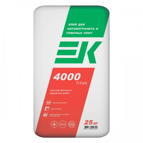 Клей для керамогранита и тяжелых плит EK 4000 TITAN ЕК Кемикал