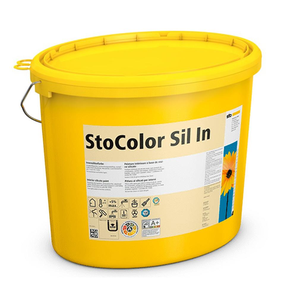 Силикатная краска для внутренних работ без вредных примесей StoColor Sil In супербелая 10 л