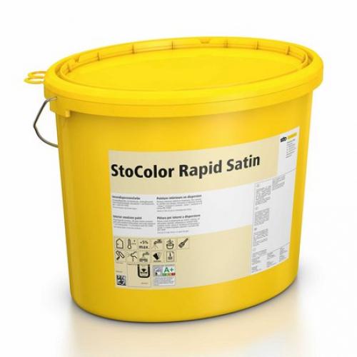 Водно-дисперсионная акриловая краска StoColor Rapid Satin белого цвета 5 л