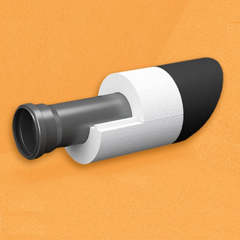 Скорлупа для труб d100 мм, толщина утеплителя на выбор 30/40/50/80/100 мм, цена за 1 м.п.