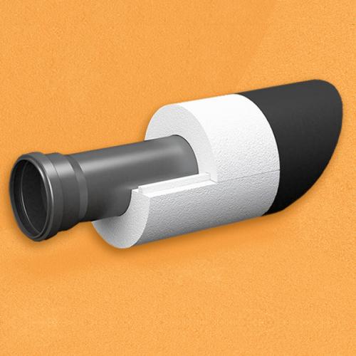 Скорлупа для труб d120 мм, толщина утеплителя на выбор 30/40/50/80/100 мм, цена за 1 м.п.