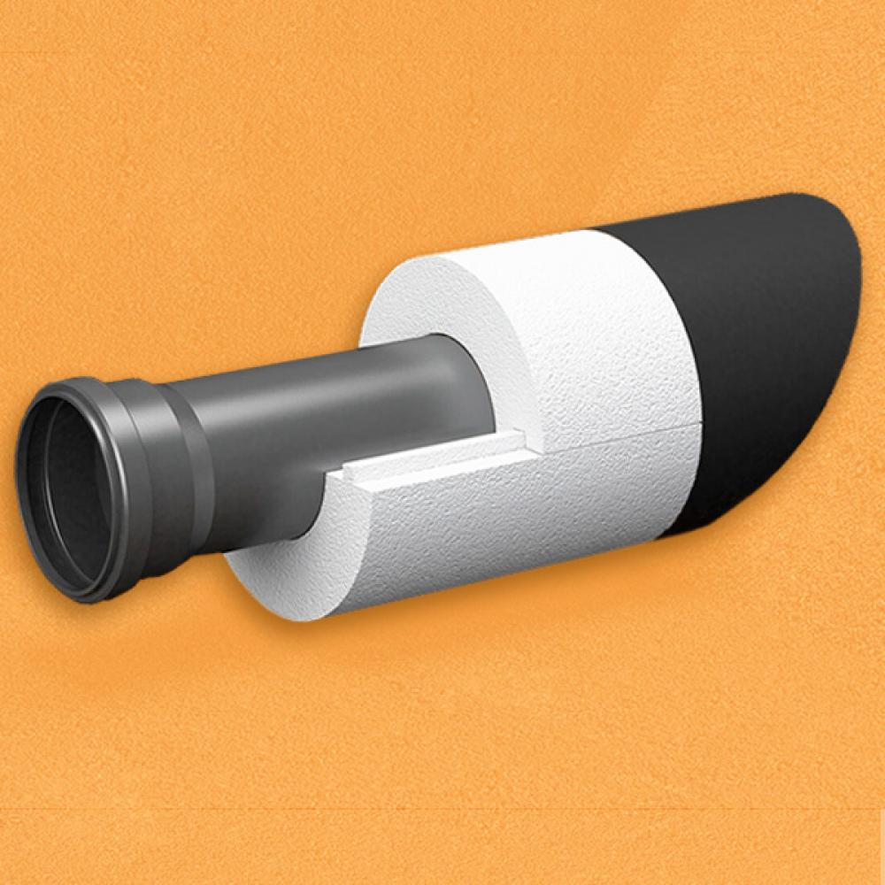 Скорлупа для труб d130 мм, толщина утеплителя на выбор 30/40/50/80/100 мм, цена за 1 м.п.