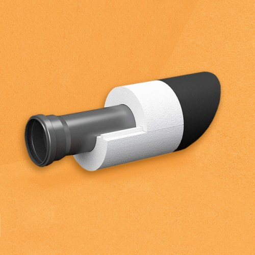 Скорлупа для труб d25 мм, толщина утеплителя на выбор 30/40/50/80/100 мм, цена за 1 м.п.
