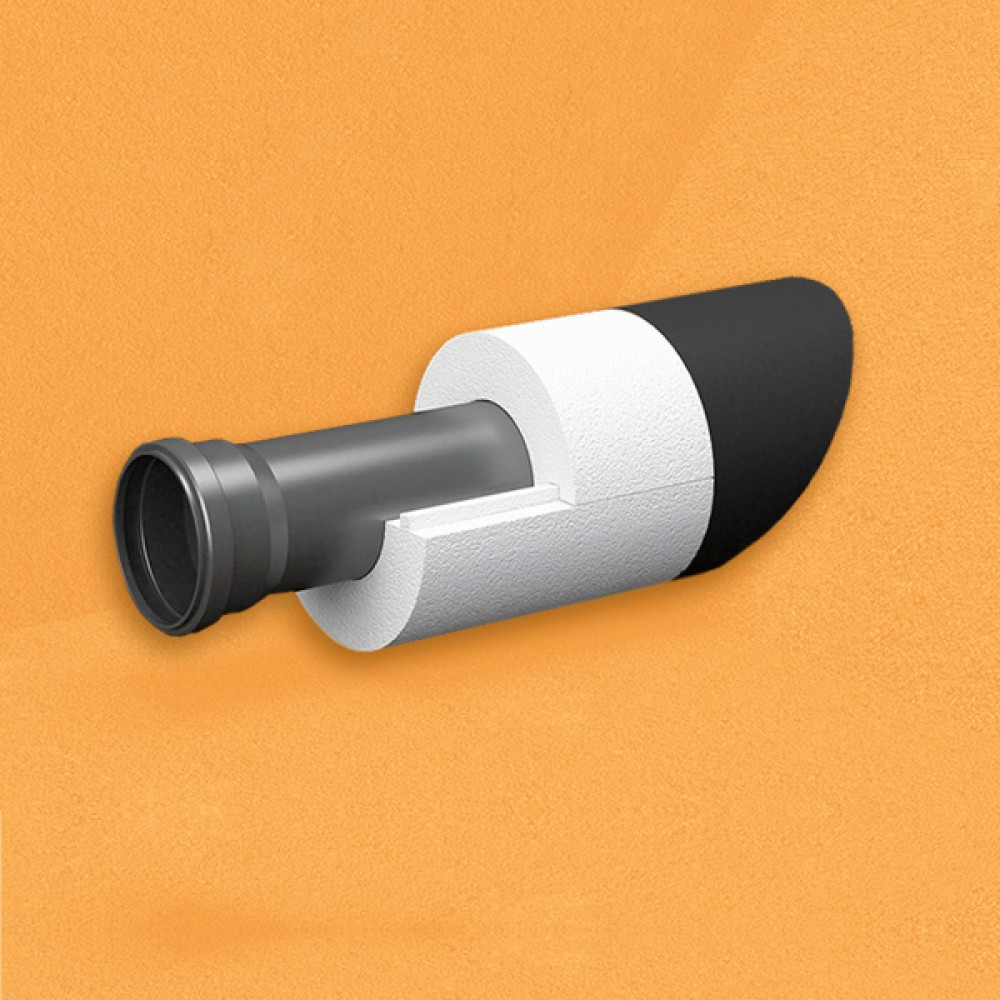Скорлупа для труб d45 мм, толщина утеплителя на выбор 30/40/50/80/100 мм, цена за 1 м.п.