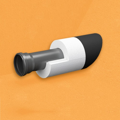 Скорлупа для труб d40 мм, толщина утеплителя на выбор 30/40/50/80/100 мм, цена за 1 м.п.