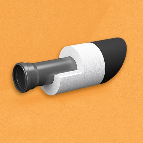 Скорлупа для труб d60 мм, толщина утеплителя на выбор 30/40/50/80/100 мм, цена за 1 м.п.