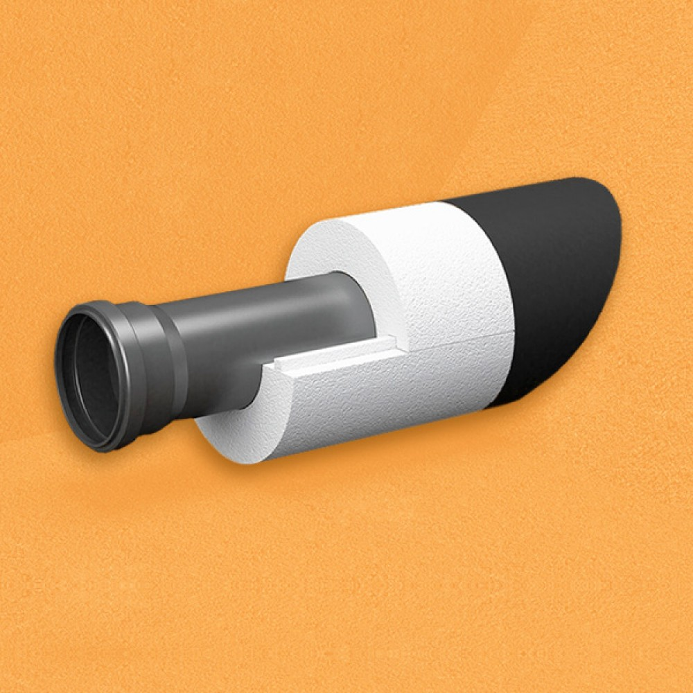 Скорлупа для труб d70 мм, толщина утеплителя на выбор 30/40/50/80/100 мм, цена за 1 м.п.