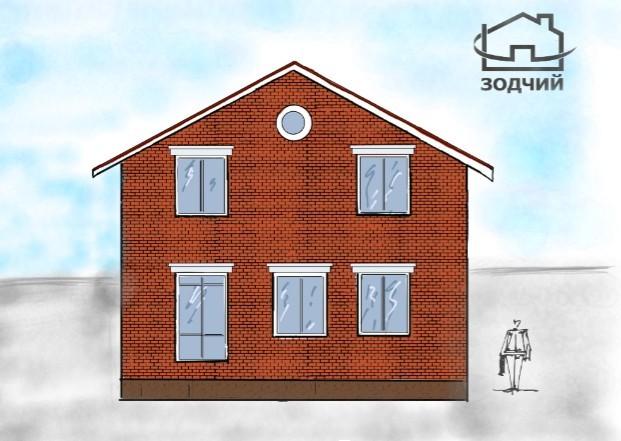 Архитектурный экскиз дома с сандриками от компании Зодчий