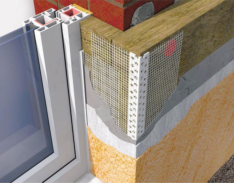Угловой ПВХ-профиль с армирующей сеткой системы мокрый фасад