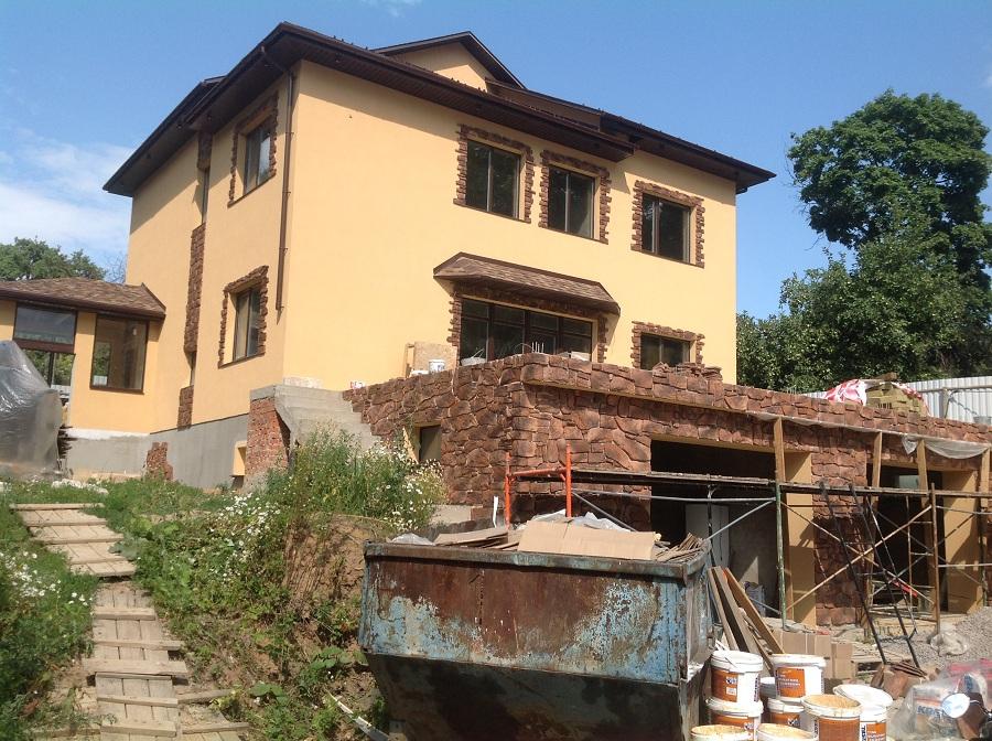 Отделка фасада дома из газобетона в мкр. Сходня, фото 4