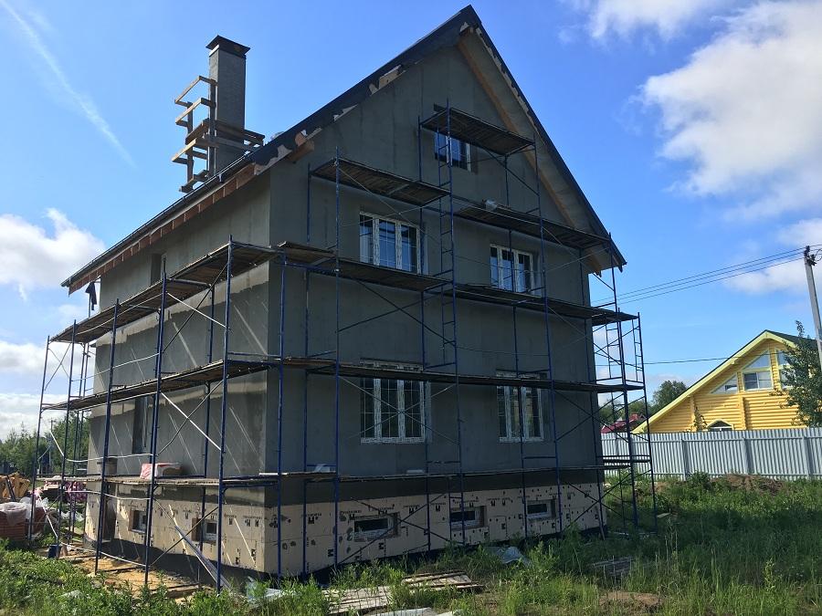 Комплексная отделка фасада двухэтажного кирпичного дома в деревне Бритово (Московская область), фото 7