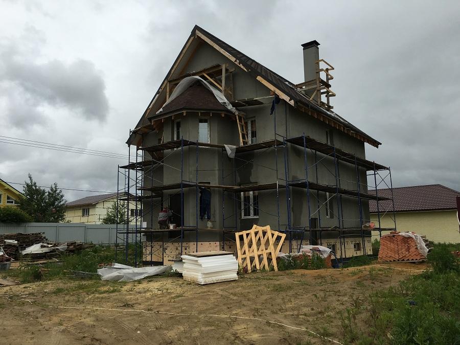Комплексная отделка фасада двухэтажного кирпичного дома в деревне Бритово (Московская область), фото 10