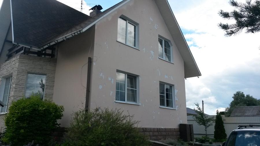 Ремонт (отделка штукатуркой) фасада дома в Чекмово, фото 2