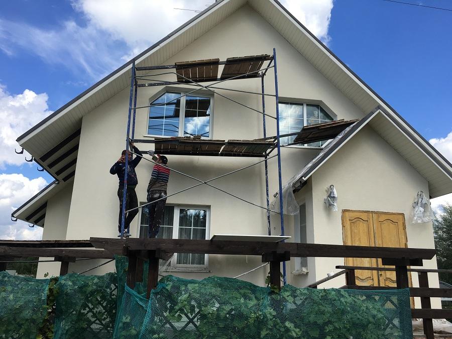 Ремонт (отделка штукатуркой) фасада дома в Чекмово, фото 5