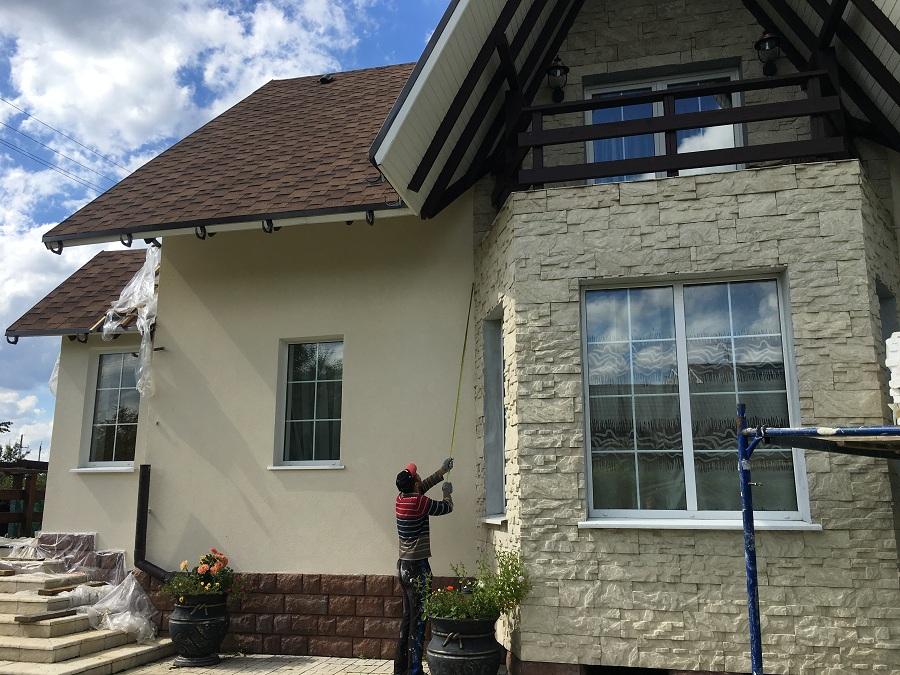 Ремонт (отделка штукатуркой) фасада дома в Чекмово, фото 6