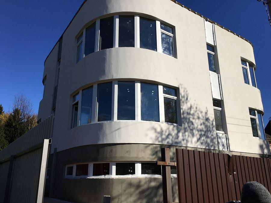 Отделка фасада торгово-офисного здания в д. Козино Московской области, фото 4