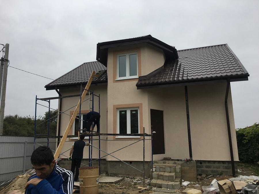 Утепление и оштукатуривание блочного коттеджа в Нащекино, фото 2