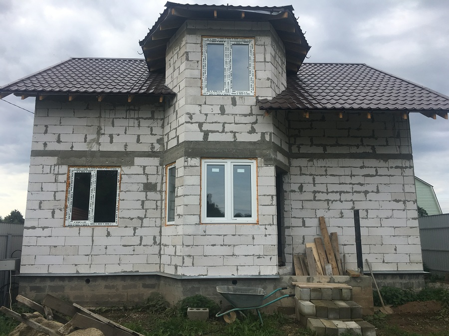 Утепление и оштукатуривание блочного коттеджа в Нащекино, фото 5