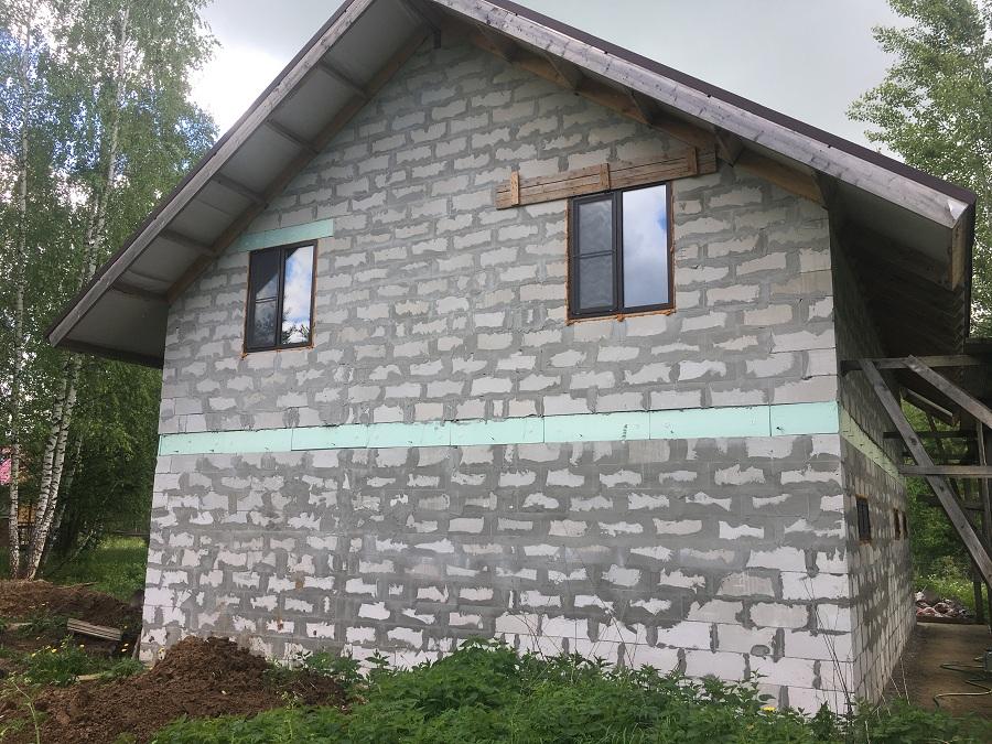 Комплексная отделка фасада двухэтажного жилого дома из блоков, фото 7